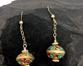 Turquoise Earrings, Turquoise and Coral, Southwest Jewelry, Southwest Earrings, Brass Jewelry, Coral Earrings, Gold Earrings, Gift for Her