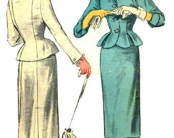 Advance 6080 Sewing Pattern Vintage 1950s Womens' Half Size Peplum Jacket With Straight Skirt