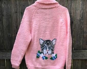 Pink Knit Cat Sweater Cardigan