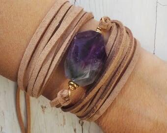 Leather wrap bracelet. Boho wrap bracelet. Gemstone wrap bracelet. Nugget bracelet. Amethyst bracelet. Statement bracelet.