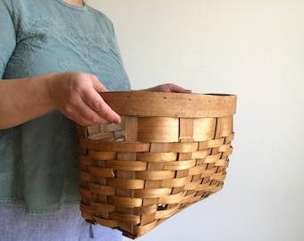 Vintage Split Oak Basket with Handles