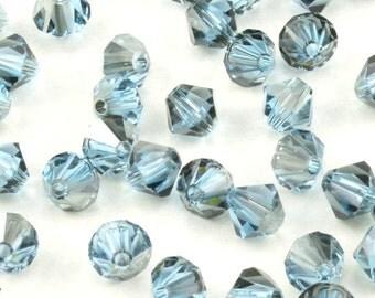 5MM Swarovski Aquamarine Satin Bicone Crystals - Swarovski Crystal Bicones - 48 Pcs