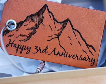 Happy 3rd Third Anniversary Gift, Wife, Husband, Mountain, Travel, Customizable Anniversary Gift, Wedding Anniversary Gift, Leather Bag Tag
