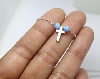 Cross Opal Necklace, Blue  Cross Opal Necklace,Cross Necklace ,Opal Ball Necklace, Dainty Opal Jewelry, Simple Necklace, minimalist necklace