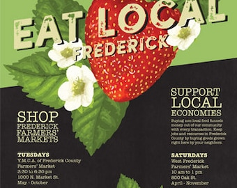 Eat Local Frederick Poster: Strawberries 18x24