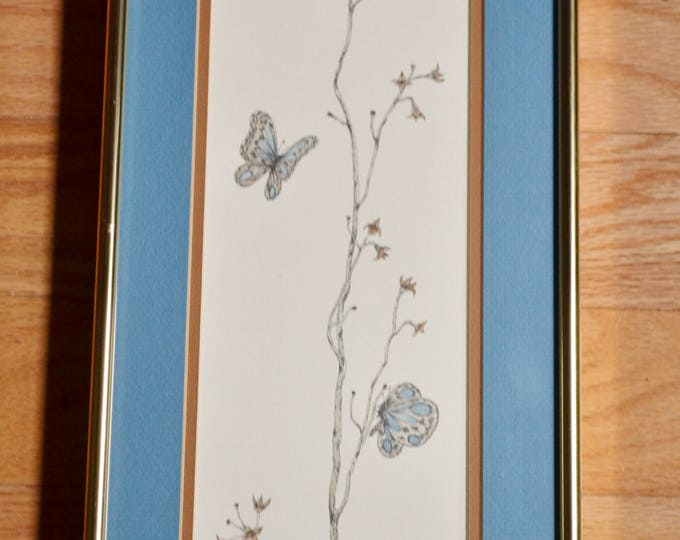 Vintage Don Kent Print Butterflies and Wild Flowers Signed Framed Matted Nature Inspired Wall Decor PanchosPorch