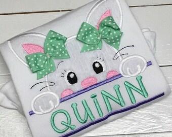 Girls Easter Bunny Applique Shirt - boys Easter bunny shirt- Easter bunny embroidered shirt