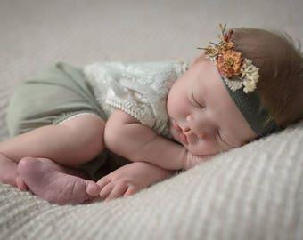Newborn Girl Romper, Newborn Photo Prop, Lace Romper, Chiffon, Newborn Props, Baby Romper, Newborn Bloomers, New Born outfit, Green