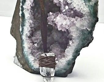 Genuine, raw, clear quartz crystal point, micro macrame pendant necklace.Boho, healing, reiki, spiritual meditation jewelry. gemstone