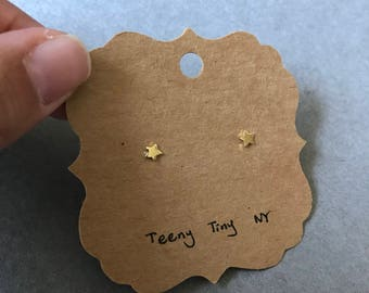 Gold Tiny Mini Star Stud Earrings - Gold plated over Sterling Silver [GE1031]