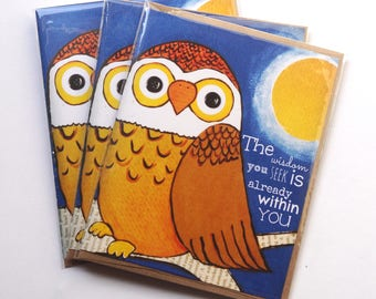 Blue Moon owl Fall Set of FOUR Blank Note Card with original art by Cortney Rector Designs