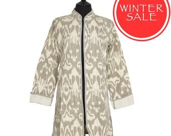 WINTER SALE - IKAT Jacket - All sizes - Beige Grey