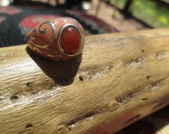 Carnelian, Enamel and Sterling Silver Ring Size 6.25