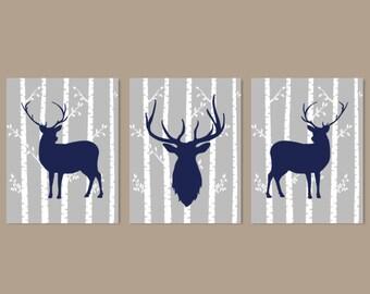 Deer Nursery Decor - 3 Instant Download - Boy Printable Nursery Art - Printable Wall Art - Navy Gray Nursery Pictures - Deer Antlers