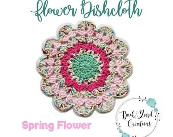 Spring Flower Kitchen Dishcloth, Crochet Dishcloth, Flower, Washcloth, Ready to Ship