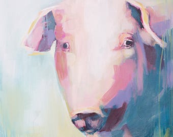 a boho whimsical abstract pig painting in pastels acrylic purple, pink and blue, mid century, farmhouse