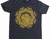 Men's Mushroom Mandala Shirt Psychedelic Tattoo Style Sacred Geometry Tee