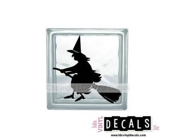 Witch (flying on a broom) - Halloween Vinyl Lettering for Glass Blocks - Craft Decals