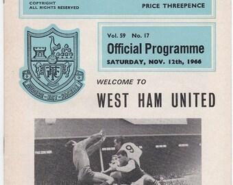 Vintage Football (soccer) Programme - Tottenham Hotspur v West Ham United, 1966/67 season