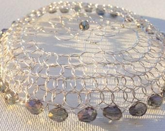 Silver Rose  Kippah with Crystals