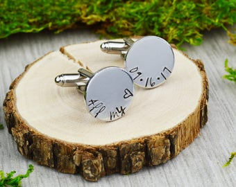 All My Heart Cuff Links with Custom Wedding Date - Hand Stamped Groom Gift - Anniversary