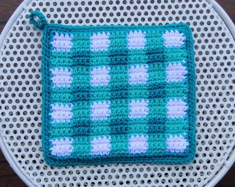 Turquoise Plaid Potholder - Turquoise Gingham Potholder - Turquoise Plaid Pot Holder - Turquoise Checked Potholder - Turquoise Potholder