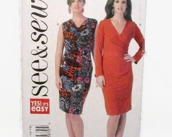 See and Sew 6080 Misses Dress Easy Close Fitting UNCUT