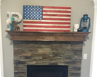 "37""x19.5""  Rustic Wood American Flag"