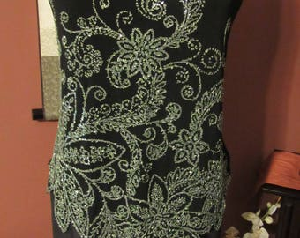Black and Kelly Green Sequin Strapless Tank - Size Large