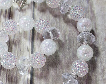 Clear Rhinestone Bracelet, Bubblegum Bracelet, Chunky Beads, Ice Princess, Birthday Outfit, Cake Smash, Birthday Favor, Holiday, Girls Gift