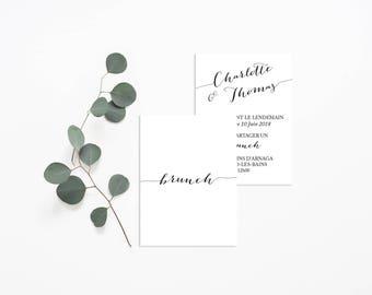 Printable Black and White Brunch Invitation - Wedding Brunch - Minimalist Wedding Brunch Card - Minimalist Wedding - Elegant Chic Wedding