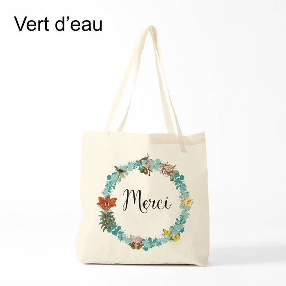 Merci Tote bag. Mint version, Cotton bag, sports bag, yoga bag, baby bag, groceries bag, school bag, novelty gift, canvas bag, gift coworker