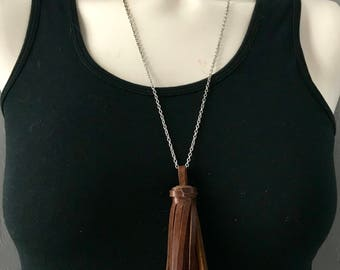 Brown Leather Tassel Necklace, Leather Necklace, Tassel Boho Necklace, Layering Necklace, Long Fringe Necklace, Gift for Her, Free Shipping