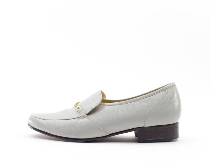 Grey Leather Slipper | Gold Detail Loafer | Size US Women's 7  Euro 37 - 38  UK 5