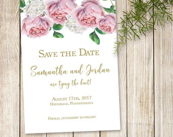 Pink Roses Save the Date, Floral Save the Date Invite, Boho Flowers Save the Date Invitation, Pink and Gold Save the Date
