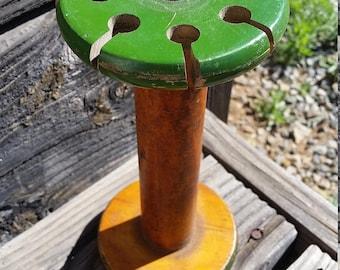 Antique Rustic Primitive Wooden Spool w/Notches Textile Mill