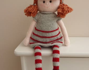 Red headed dolll.Hand knitted red headed girl dolly called Molly. Unique one of a kind doll, special gift.