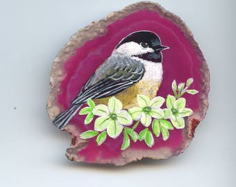 ROCK ART-CHICKADEE; pink agate on wood stand, original art, one of a kind, acrylic, hand painted agate, shelf art, anniversary, Mothers Day