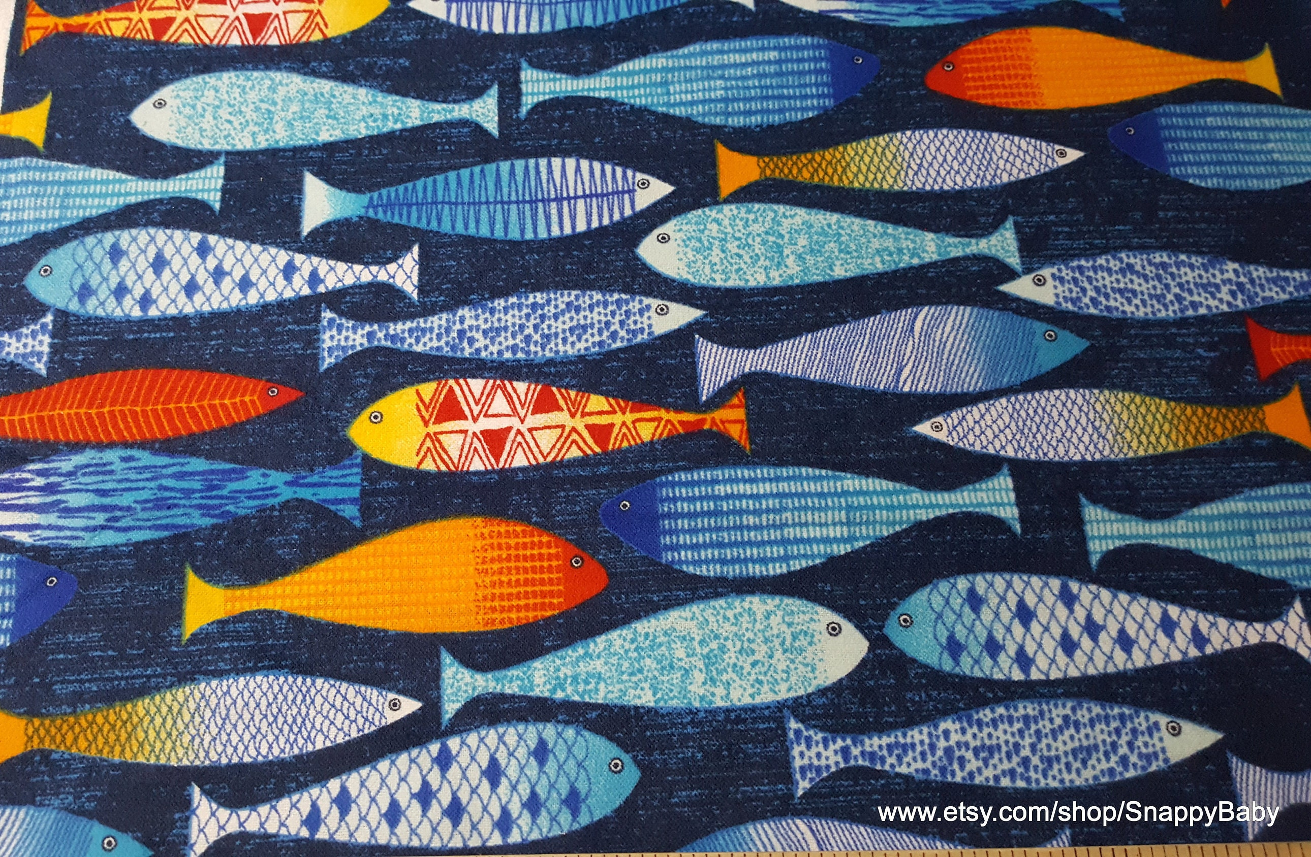 Flannel fabric painted fish by the yard 100 cotton for Fish fabric by the yard