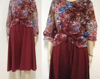 Vintage 70s Vintage Maroon Floral Dress Puff Sheer Sleeve Retro Hippie Mid Length Vtg 1970s Size XS-S