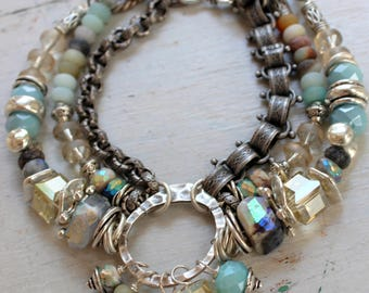 bracelet, dendrite opal bracelet, dendritic bracelet, opal bracelet, blue bracelet, boho chic bracelet, bohemian bracelet, gold bracelet