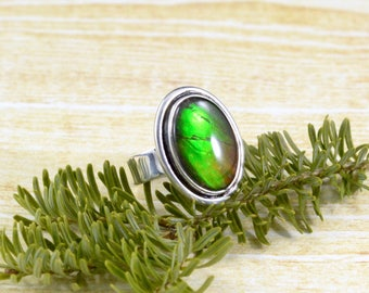 Green Sheen Ammolite Ring // Ammolite Jewelry // Ammonite Jewelry // Fossil Jewelry // Sterling Silver // Village Silversmith