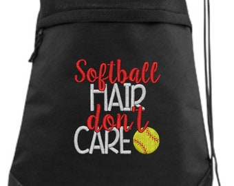 Softball Drawstring Bag/ Embroidered Softball Bag/ Softball Hair Don't Care/ Softball Cinch Drawstring Bag/ Softball String Bag