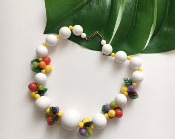 1940's Fruit Necklace - 40's Beaded Celluloid Necklace