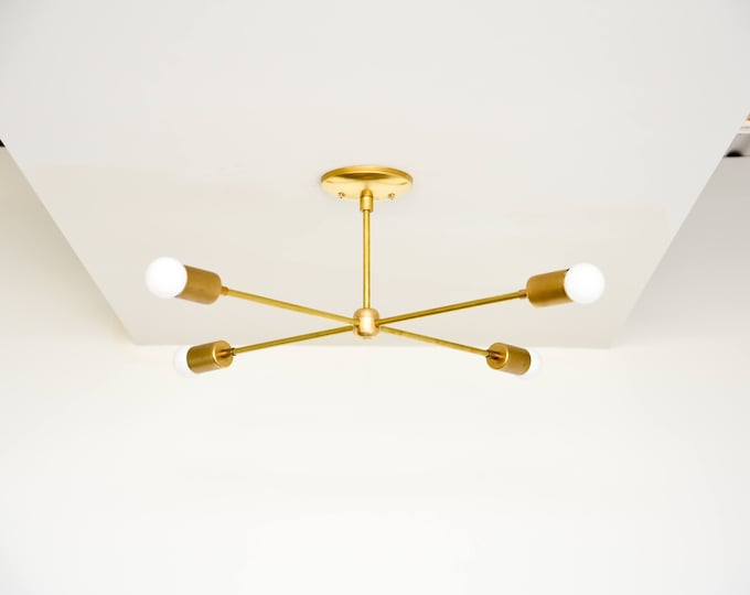 Free Shipping! Large Modern Chandelier Gold Brass 4 Bulb Arm Sputnik Mid Century Semi Flush Edison Industrial Modern UL Listed