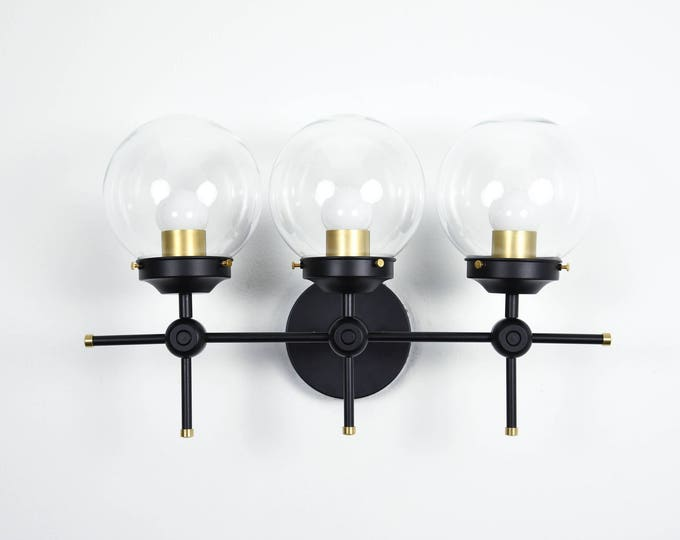 Wall Sconce Black and Gold Brass 3 Globe Modern Abstract Mid Century Industrial Art Vanity Light Bathroom UL Listed