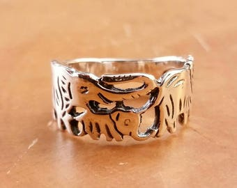 Elephant Ring Sterling Silver Elephant Jewelry FREE Shipping Codes FREE Gift Box Bohemian Boho Safari Gypsy Wanderlust Vibes Animal Jewelry