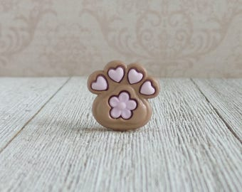 Paw Print - Pink - Dog - Puppy - Animal - Flower - Heart - Lapel Pin