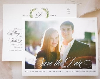 Rustic Save the Date Postcard with Photo | Laurel Greenery Wedding