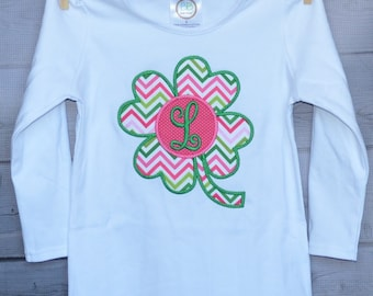 Personalized St Patricks Patty Day Initial Shamrock Applique Shirt or Onesie Girl or Boy